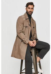 Szary płaszcz Hugo na co dzień, klasyczny, bez kaptura