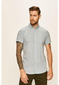 Niebieska koszula PRODUKT by Jack & Jones z krótkim rękawem, button down, krótka, na co dzień