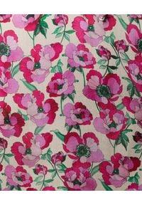 RAQUEL DINIZ - Sukienka z jedwabiu Alice. Typ kołnierza: kokarda. Kolor: różowy, fioletowy, wielokolorowy. Materiał: jedwab. Wzór: kwiaty. Styl: elegancki, klasyczny. Długość: mini