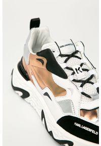 Białe buty sportowe Karl Lagerfeld na sznurówki, na obcasie, z okrągłym noskiem