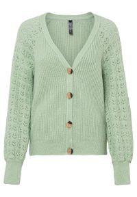 Sweter rozpinany bonprix jasny zielono-szary. Kolor: zielony