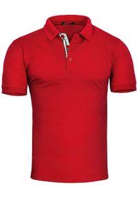 Czerwona koszulka polo Recea casualowa, z krótkim rękawem