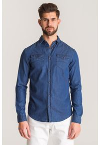 Niebieska koszula Emporio Armani na lato, na co dzień
