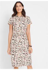 Sukienka lniana z nadrukiem bonprix beżowo-szary w kwiatki. Kolor: szary. Materiał: len. Wzór: nadruk, kwiaty