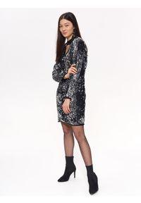 Srebrna sukienka TROLL z dekoltem w serek, z długim rękawem, na zimę