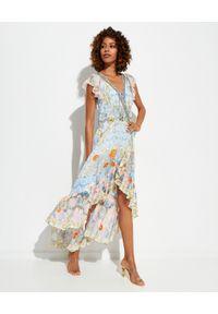 Camilla - CAMILLA - Sukienka z falbaną Morris Muse. Kolor: niebieski. Materiał: jedwab. Długość rękawa: krótki rękaw. Wzór: kwiaty, aplikacja, nadruk. Typ sukienki: asymetryczne, kopertowe, rozkloszowane. Długość: maxi