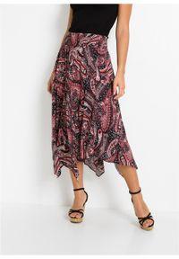 Spódnica z asymetryczną linią dołu bonprix czarno-malinowy paisley. Kolor: czarny. Długość: długie. Wzór: paisley #4