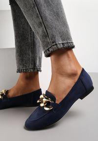 Renee - Granatowe Mokasyny Trypheis. Wysokość cholewki: przed kostkę. Kolor: niebieski. Materiał: jeans. Szerokość cholewki: normalna. Obcas: na obcasie. Styl: wizytowy. Wysokość obcasa: niski