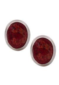 Braccatta - TALI Srebrne kolczyki koral naturalny czerwony owalne sztyft. Materiał: srebrne. Kolor: srebrny, czerwony, wielokolorowy. Kamień szlachetny: koral