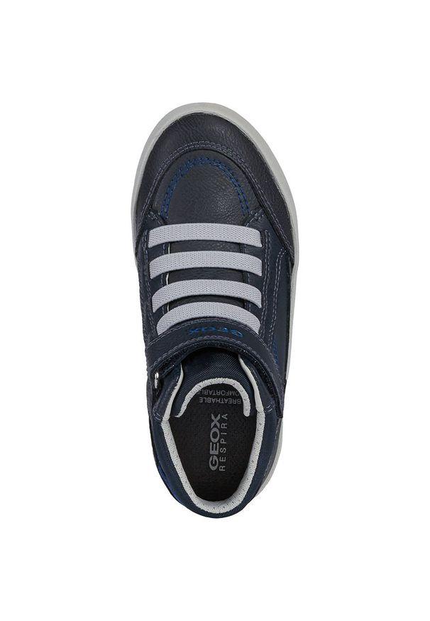 Niebieskie buty sportowe Geox na rzepy, z cholewką