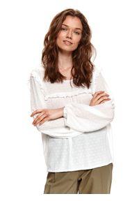 TOP SECRET - Luźna bluzka z tkaniny plumeti. Kolor: biały. Materiał: tkanina. Długość rękawa: długi rękaw. Długość: długie. Sezon: wiosna. Styl: elegancki