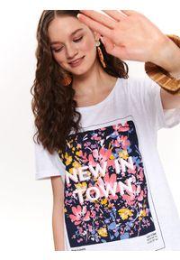 Biały t-shirt DRYWASH krótki, z krótkim rękawem, casualowy