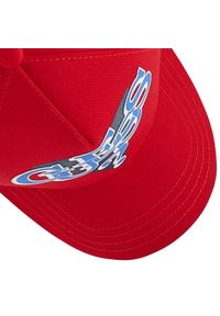 Guess - Czapka z daszkiem GUESS - Delsin Logo ABDEL1 CO213 RED. Kolor: czerwony. Materiał: materiał, bawełna