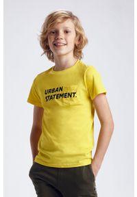 Żółty t-shirt Mayoral z nadrukiem, na co dzień, casualowy
