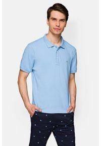 Lancerto - Koszulka Błękitna Polo Patrick. Typ kołnierza: polo. Kolor: niebieski. Materiał: tkanina, włókno, bawełna, materiał. Wzór: gładki, ze splotem. Sezon: lato. Styl: klasyczny