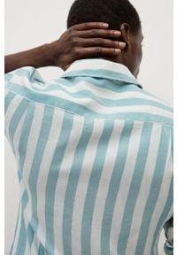 Turkusowa koszula Mango Man na co dzień, długa, casualowa