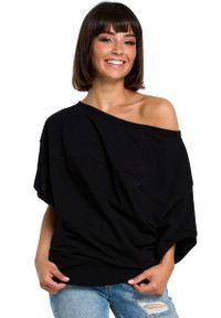 Czarna bluzka MOE z kopertowym dekoltem