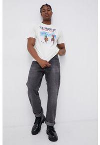 Mc2 Saint Barth - MC2 Saint Barth - T-shirt bawełniany. Okazja: na co dzień. Kolor: beżowy. Materiał: bawełna. Wzór: nadruk. Styl: casual