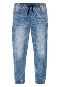 Dżinsy bez zamka w talii Slim Fit Straight bonprix niebieski denim. Kolor: niebieski