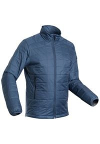 FORCLAZ - Kurtka trekkingowa zimowa TREK 100 - męska. Kolor: niebieski. Materiał: poliester, materiał, poliamid. Sezon: zima