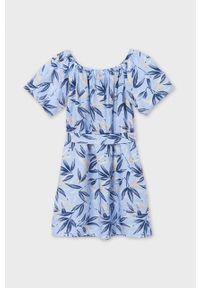 Niebieska sukienka Mayoral z krótkim rękawem, mini, rozkloszowana