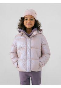 4f - Kurtka puchowa pikowana dziewczęca. Kolor: różowy. Materiał: puch