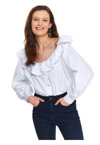 Biała koszula TOP SECRET długa, na wiosnę, do pracy, z długim rękawem