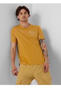 outhorn - T-shirt z nadrukiem męski. Okazja: na co dzień. Materiał: bawełna, dzianina, materiał. Wzór: nadruk. Styl: casual #1