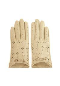 Wittchen - Damskie rękawiczki skórzane dziurkowane. Kolor: kremowy. Materiał: skóra. Wzór: aplikacja. Styl: klasyczny, elegancki
