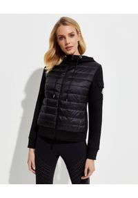 MONCLER - Czarna bluza z ociepleniem. Kolor: czarny. Materiał: puch, materiał, nylon. Wzór: aplikacja