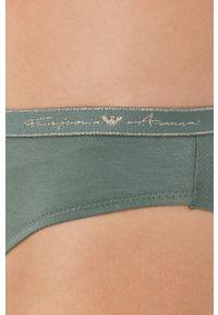 Emporio Armani Underwear - Stringi. Kolor: zielony. Materiał: dzianina, materiał. Wzór: gładki