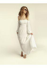 Madnezz - Sukienka Colombiana - ecru. Materiał: wiskoza, elastan