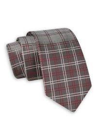 Szary Elegancki Krawat -Angelo di Monti- 6 cm, Męski, w Grubą Czerwono-Białą Kratkę. Kolor: czerwony. Wzór: kratka. Styl: elegancki