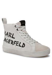 Białe półbuty Karl Lagerfeld z cholewką, na co dzień