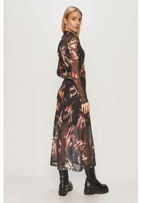 Czarna sukienka AllSaints casualowa, na co dzień, rozkloszowana, midi