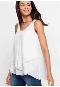 Biała bluzka bonprix bez rękawów