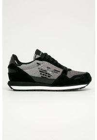 Czarne buty sportowe Emporio Armani z okrągłym noskiem, na sznurówki, z cholewką