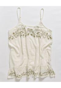 ONETEASPOON - Sukienka mini. Kolor: beżowy. Materiał: materiał. Długość rękawa: na ramiączkach. Wzór: kwiaty, haft, aplikacja. Długość: mini