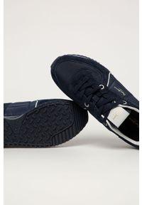 Niebieskie sneakersy Pepe Jeans z okrągłym noskiem, na sznurówki
