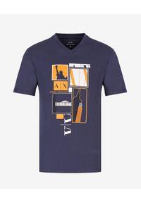Armani Exchange - ARMANI EXCHANGE - Granatowy T-shirt z grafiką New York. Okazja: na co dzień. Kolor: biały. Materiał: jeans. Styl: wizytowy, klasyczny, casual