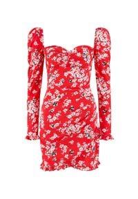 SELF LOVE - Czerwona sukienka Veracruz. Kolor: czerwony. Materiał: wiskoza. Wzór: kwiaty. Długość: mini