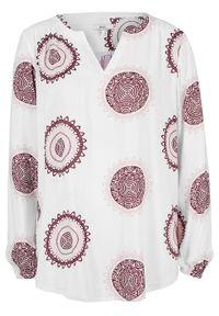 Bluzka tunikowa z nadrukiem bonprix biało-czerwony klonowy z nadrukiem. Kolor: biały. Wzór: nadruk