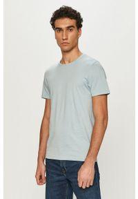 Niebieski t-shirt Tom Tailor gładki, na co dzień, casualowy
