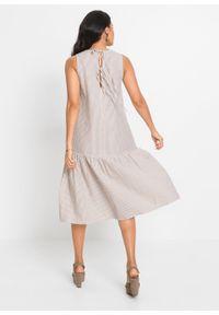 Sukienka z wiązanymi troczkami bonprix piaskowy w paski. Kolor: beżowy. Wzór: paski. Sezon: lato