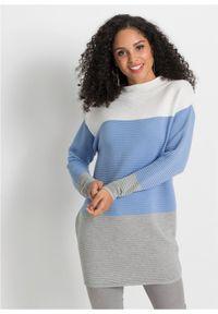 Biały sweter bonprix ze stójką, długi, w paski