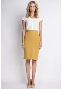 Żółta spódnica ołówkowa Lanti z podwyższonym stanem