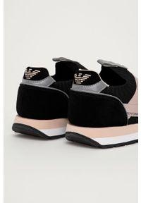 Czarne sneakersy Emporio Armani z cholewką, na niskim obcasie, na obcasie