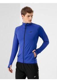 4f - Bluza do biegania męska. Kolor: niebieski. Materiał: dzianina, włókno. Długość rękawa: raglanowy rękaw