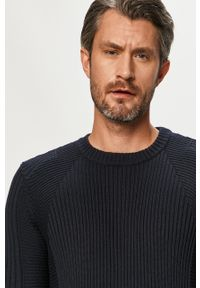 Niebieski sweter G-Star RAW casualowy, długi, z okrągłym kołnierzem