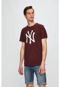 Brązowy t-shirt New Era z okrągłym kołnierzem, casualowy, z nadrukiem
